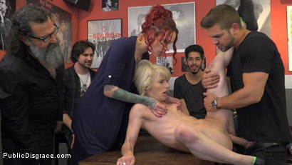 Photo number 9 from Naughty Bitch Gets The Bone She's After - Part 2 shot for Public Disgrace on Kink.com. Featuring Steve Holmes, Juan Lucho, Nora Barcelona and Silvia Rubi in hardcore BDSM & Fetish porn.