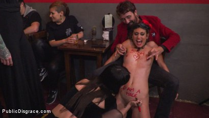 Photo number 8 from Shy Pretty Bitch Sings in Pain - Part 1 shot for Public Disgrace on Kink.com. Featuring Steve Holmes, Silvia Rubi, Pablo Ferrari and Julia Roca in hardcore BDSM & Fetish porn.