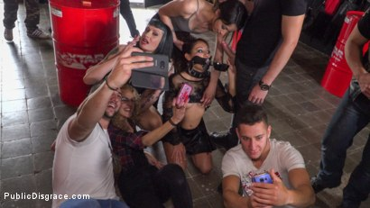 Photo number 14 from Fugitive Biker Bar Gets Serviced! - Part 2 shot for Public Disgrace on Kink.com. Featuring Steve Holmes, Oliver Pina, Melody Petite and Mistress Minerva in hardcore BDSM & Fetish porn.