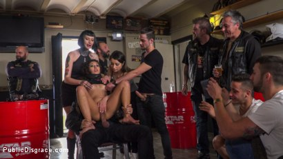 Photo number 15 from Fugitive Biker Bar Gets Serviced! - Part 2 shot for Public Disgrace on Kink.com. Featuring Steve Holmes, Oliver Pina, Melody Petite and Mistress Minerva in hardcore BDSM & Fetish porn.