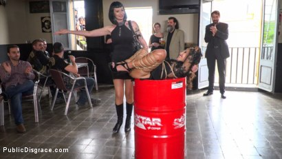 Photo number 3 from Fugitive Biker Bar Gets Serviced! - Part 2 shot for Public Disgrace on Kink.com. Featuring Steve Holmes, Oliver Pina, Melody Petite and Mistress Minerva in hardcore BDSM & Fetish porn.