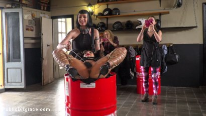 Photo number 4 from Fugitive Biker Bar Gets Serviced! - Part 2 shot for Public Disgrace on Kink.com. Featuring Steve Holmes, Oliver Pina, Melody Petite and Mistress Minerva in hardcore BDSM & Fetish porn.