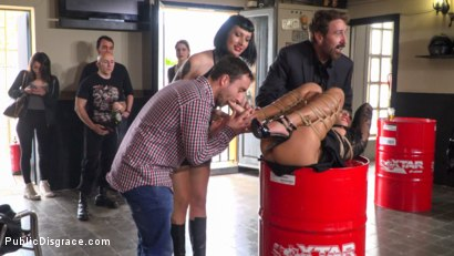 Photo number 9 from Fugitive Biker Bar Gets Serviced! - Part 2 shot for Public Disgrace on Kink.com. Featuring Steve Holmes, Oliver Pina, Melody Petite and Mistress Minerva in hardcore BDSM & Fetish porn.