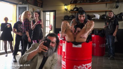 Photo number 10 from Fugitive Biker Bar Gets Serviced! - Part 2 shot for Public Disgrace on Kink.com. Featuring Steve Holmes, Oliver Pina, Melody Petite and Mistress Minerva in hardcore BDSM & Fetish porn.