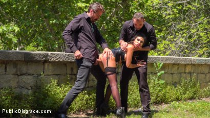 Photo number 9 from Spanish Slut Frida Sante Fucked Outdoors shot for Public Disgrace on Kink.com. Featuring Steve Holmes, Pablo Ferrari, Melody Petite and Frida Sante in hardcore BDSM & Fetish porn.