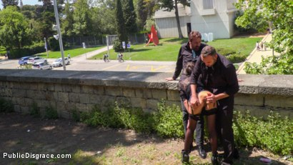 Photo number 1 from Spanish Slut Frida Sante Fucked Outdoors shot for Public Disgrace on Kink.com. Featuring Steve Holmes, Pablo Ferrari, Melody Petite and Frida Sante in hardcore BDSM & Fetish porn.