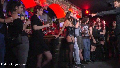Photo number 2 from Underground Goth Club turns into a Wild Fuck Party! shot for Public Disgrace on Kink.com. Featuring Steve Holmes, Pablo Ferrari, Melody Petite and Frida Sante in hardcore BDSM & Fetish porn.