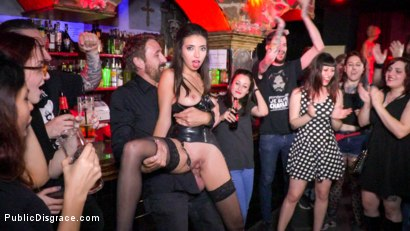 Photo number 8 from Underground Goth Club turns into a Wild Fuck Party! shot for Public Disgrace on Kink.com. Featuring Steve Holmes, Pablo Ferrari, Melody Petite and Frida Sante in hardcore BDSM & Fetish porn.