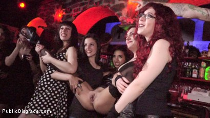 Photo number 9 from Underground Goth Club turns into a Wild Fuck Party! shot for Public Disgrace on Kink.com. Featuring Steve Holmes, Pablo Ferrari, Melody Petite and Frida Sante in hardcore BDSM & Fetish porn.
