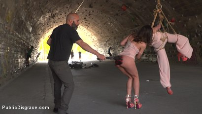 Photo number 4 from Newbie Penelope Gets Suspended, Flogged and Fucked shot for Public Disgrace on Kink.com. Featuring Steve Holmes, Pablo Ferrari, Valentina Bianco, Melody Petite, Max Cortes, Frida Sante and Penelope Cum in hardcore BDSM & Fetish porn.