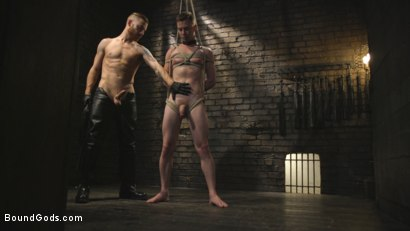 Photo number 7 from Slave boy with a giant cock submits to the whims of Mr Keys shot for Bound Gods on Kink.com. Featuring Sebastian Keys and Kyler Ash in hardcore BDSM & Fetish porn.