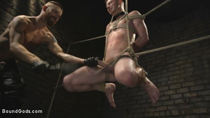 Photo number 11 from Slave boy with a giant cock submits to the whims of Mr Keys shot for Bound Gods on Kink.com. Featuring Sebastian Keys and Kyler Ash in hardcore BDSM & Fetish porn.