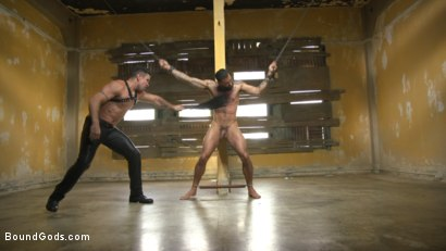 Photo number 12 from Rikk York Loves to Lick Leather while being Chained and Flogged shot for Bound Gods on Kink.com. Featuring Rikk York and Trenton Ducati in hardcore BDSM & Fetish porn.