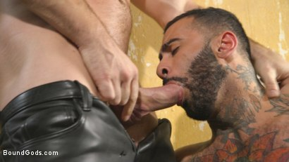 Photo number 3 from Rikk York Loves to Lick Leather while being Chained and Flogged shot for Bound Gods on Kink.com. Featuring Rikk York and Trenton Ducati in hardcore BDSM & Fetish porn.