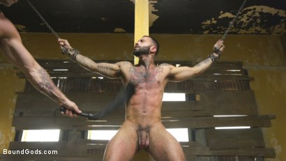 Photo number 5 from Rikk York Loves to Lick Leather while being Chained and Flogged shot for Bound Gods on Kink.com. Featuring Rikk York and Trenton Ducati in hardcore BDSM & Fetish porn.