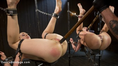 Photo number 5 from Flesh of Three shot for Device Bondage on Kink.com. Featuring Lilith Luxe, Veruca James, Charlotte Cross and The Pope in hardcore BDSM & Fetish porn.