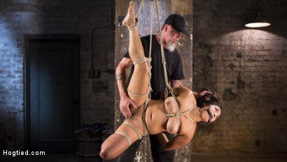 Photo number 5 from Brutal Hair Suspension, Grueling Bondage, Torment, and Orgasms!!! shot for Hogtied on Kink.com. Featuring Mia Little and The Pope in hardcore BDSM & Fetish porn.