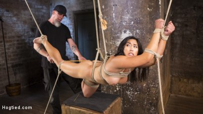 Photo number 3 from Brutal Hair Suspension, Grueling Bondage, Torment, and Orgasms!!! shot for Hogtied on Kink.com. Featuring Mia Li and The Pope in hardcore BDSM & Fetish porn.