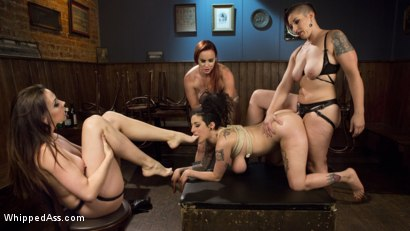 Photo number 13 from Dyke Bar 4: Wet T-shirt Contest! shot for Whipped Ass on Kink.com. Featuring Chanel Preston, Bella Rossi, Mistress Kara and Arabelle Raphael in hardcore BDSM & Fetish porn.
