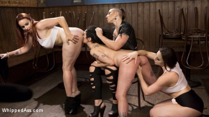 Photo number 4 from Dyke Bar 4: Wet T-shirt Contest! shot for Whipped Ass on Kink.com. Featuring Chanel Preston, Bella Rossi, Mistress Kara and Arabelle Raphael in hardcore BDSM & Fetish porn.