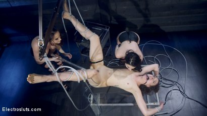 Photo number 4 from Shock the System Pt. 3: The Hologram Submits! shot for Electro Sluts on Kink.com. Featuring Veruca James, Chanel Preston and Lilith Luxe in hardcore BDSM & Fetish porn.
