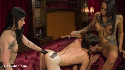 Photo number 13 from Honey Foxxx Corrupts Young Innocent Couple  shot for TS Seduction on Kink.com. Featuring Tony Orlando, Charlotte Sartre and Honey FoXXX in hardcore BDSM & Fetish porn.