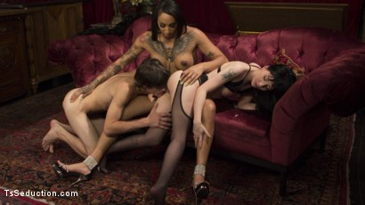 Photo number 3 from Honey Foxxx Corrupts Young Innocent Couple  shot for TS Seduction on Kink.com. Featuring Tony Orlando, Charlotte Sartre and Honey FoXXX in hardcore BDSM & Fetish porn.