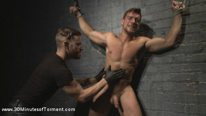 Photo number 6 from Straight Hunk - Solid Muscle - Mercilessly Beaten and Made to Cum shot for 30 Minutes of Torment on Kink.com. Featuring Jordan Boss in hardcore BDSM & Fetish porn.