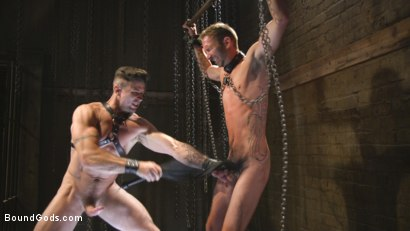 Photo number 8 from New Sub, Tyler Phoenix: Caged and Tormented  shot for Bound Gods on Kink.com. Featuring Trenton Ducati and Tyler Phoenix in hardcore BDSM & Fetish porn.