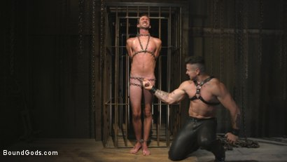 Photo number 4 from New Sub, Tyler Phoenix: Caged and Tormented  shot for Bound Gods on Kink.com. Featuring Trenton Ducati and Tyler Phoenix in hardcore BDSM & Fetish porn.