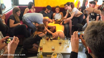 Photo number 3 from Public Slut Works the Crowd shot for Public Disgrace on Kink.com. Featuring Steve Holmes, Antonio Ross, Carolina Abril and Tina Kay in hardcore BDSM & Fetish porn.