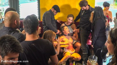 Photo number 4 from Public Slut Works the Crowd shot for Public Disgrace on Kink.com. Featuring Steve Holmes, Antonio Ross, Carolina Abril and Tina Kay in hardcore BDSM & Fetish porn.