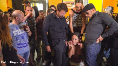 Photo number 6 from Public Slut Works the Crowd shot for Public Disgrace on Kink.com. Featuring Steve Holmes, Antonio Ross, Carolina Abril and Tina Kay in hardcore BDSM & Fetish porn.