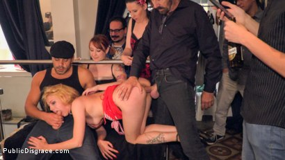 Photo number 21 from Gorgeous Anal Whore Gets Public DP!!! shot for Public Disgrace on Kink.com. Featuring Steve Holmes, Tina Kay, Antonio Ross and Daniela Dadivoso in hardcore BDSM & Fetish porn.