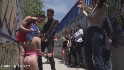 Photo number 14 from Cute and Colorful Susy Blue is Begging to be Disgraced in Public. shot for Public Disgrace on Kink.com. Featuring Steve Holmes, Kendo Ortiz, Yasmin Scott and Susy Blue in hardcore BDSM & Fetish porn.