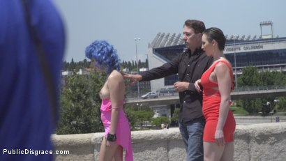 Photo number 3 from Cute and Colorful Susy Blue is Begging to be Disgraced in Public. shot for Public Disgrace on Kink.com. Featuring Steve Holmes, Kendo Ortiz, Yasmin Scott and Susy Blue in hardcore BDSM & Fetish porn.