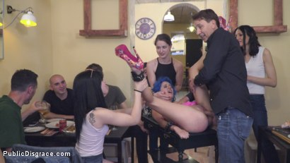 Photo number 23 from Cute and Colorful Susy Blue is Begging to be Disgraced in Public. shot for Public Disgrace on Kink.com. Featuring Steve Holmes, Kendo Ortiz, Yasmin Scott and Susy Blue in hardcore BDSM & Fetish porn.