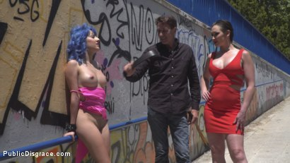 Photo number 9 from Cute and Colorful Susy Blue is Begging to be Disgraced in Public. shot for Public Disgrace on Kink.com. Featuring Steve Holmes, Kendo Ortiz, Yasmin Scott and Susy Blue in hardcore BDSM & Fetish porn.