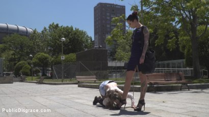 Photo number 2 from Demure Pain Slut Humiliated shot for Public Disgrace on Kink.com. Featuring Steve Holmes, Joel Tomas, Gemma Gomory and Silvia Rubi in hardcore BDSM & Fetish porn.