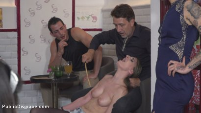 Photo number 6 from Demure Pain Slut Humiliated shot for Public Disgrace on Kink.com. Featuring Steve Holmes, Joel Tomas, Gemma Gomory and Silvia Rubi in hardcore BDSM & Fetish porn.