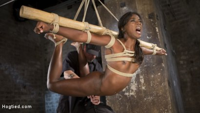 Photo number 4 from Stunning Ebony Slut in Brutal Bondage and Tormented shot for Hogtied on Kink.com. Featuring Ana Foxxx and The Pope in hardcore BDSM & Fetish porn.