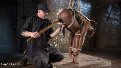 Photo number 3 from Stunning Ebony Slut in Brutal Bondage and Tormented shot for Hogtied on Kink.com. Featuring Ana Foxxx and The Pope in hardcore BDSM & Fetish porn.