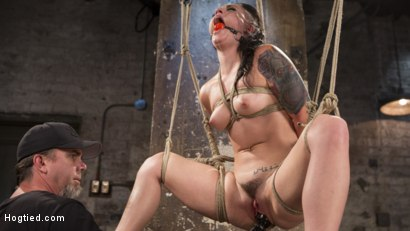 Photo number 3 from Slut Begs for Extreme Bondage and Grueling Torment to Make Her Cum shot for Hogtied on Kink.com. Featuring Rachael Madori and The Pope in hardcore BDSM & Fetish porn.