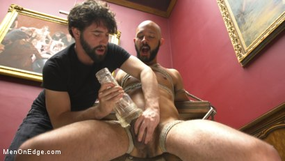 Photo number 2 from 9 in cock edged in mid-air & has the cum drained from his aching balls shot for Men On Edge on Kink.com. Featuring Dylan Strokes in hardcore BDSM & Fetish porn.