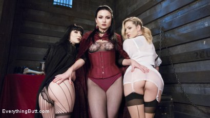 Photo number 14 from Lesbian Anal Vampires: We're here to suck your butt shot for Everything Butt on Kink.com. Featuring Charlotte Sartre, Veruca James and Dahlia Sky in hardcore BDSM & Fetish porn.