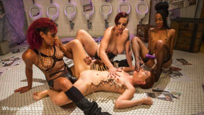 Photo number 2 from Dyke Bar 5: New girl spanked, flogged, and strap-on DP'd! shot for Whipped Ass on Kink.com. Featuring Ingrid Mouth, Daisy Ducati, Mistress Kara and Nikki Darling in hardcore BDSM & Fetish porn.