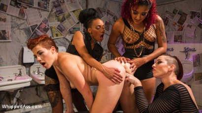 Photo number 14 from Dyke Bar 5: New girl spanked, flogged, and strap-on DP'd! shot for Whipped Ass on Kink.com. Featuring Ingrid Mouth, Daisy Ducati, Mistress Kara and Nikki Darling in hardcore BDSM & Fetish porn.
