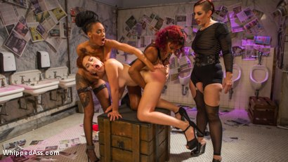 Photo number 21 from Dyke Bar 5: New girl spanked, flogged, and strap-on DP'd! shot for Whipped Ass on Kink.com. Featuring Ingrid Mouth, Daisy Ducati, Mistress Kara and Nikki Darling in hardcore BDSM & Fetish porn.