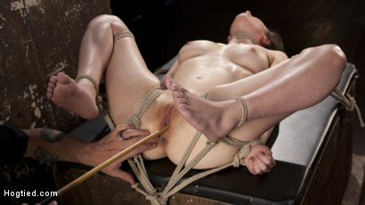 Photo number 6 from Casey Calvet Endures Brutal Bondage and Devastating Punishment shot for Hogtied on Kink.com. Featuring Casey Calvert  and The Pope in hardcore BDSM & Fetish porn.