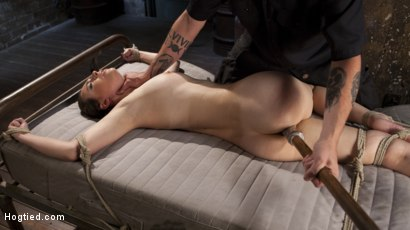 Photo number 10 from Casey Calvet Endures Brutal Bondage and Devastating Punishment shot for Hogtied on Kink.com. Featuring Casey Calvert  and The Pope in hardcore BDSM & Fetish porn.